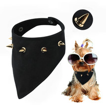 Cool Spiked Dog Cat Bandana Collar Adjustable Pet Puppy Neck Scarf Small... - $15.00