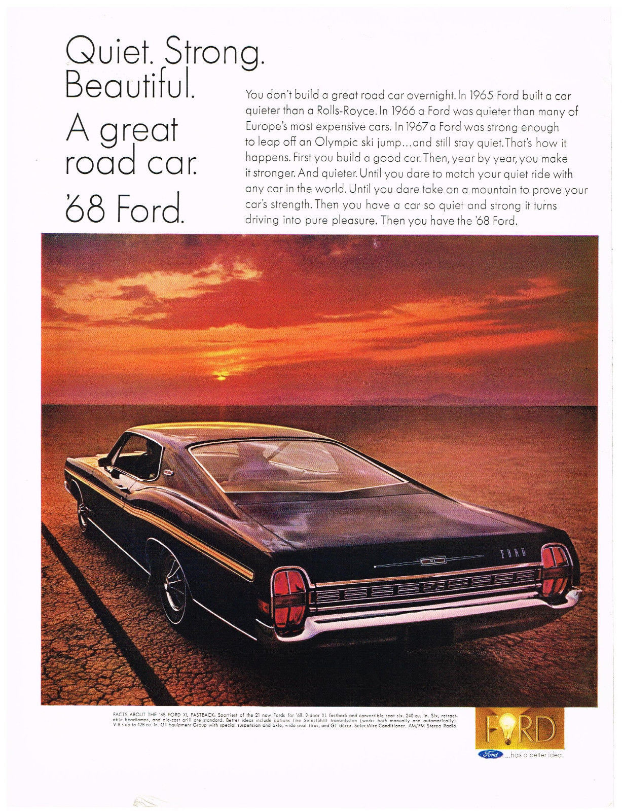 Vintage 1968 Magazine Ad For Ford Quiet Strong Turns Driving Into A Pleasure - $5.93