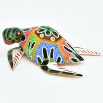 Handmade Alebrijes Oaxacan Copal Wood Carving Painted Folk Art Sea Turtle Figure