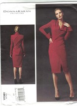 Vogue 1361 Donna Karan Pattern Mock Wrap Stretch Knit Bodycon Dress Uncu... - $17.99