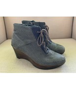 Naot Nadine Brown Textured Leather Wedge Ankle Boots EUR 35 US 4-4.5 - $37.39