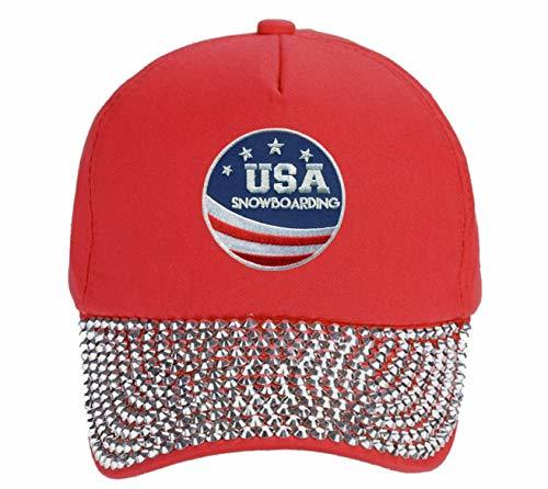 USA Snowboarding Hat - Adjustable Red Rhinestone Studded Cap Olympics