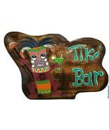 "Tropical Tiki Bar Wood Sign Warrior Tropical Tiki Bar Man Cave Spear 16""... - $33.24"