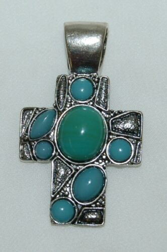 Generic 1 Inch Fashion Pendant Antique Silver Colored Cross Turquoise Stones
