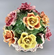LARGE ANTIQUE CAPODIMONTE ITALY PORCELAIN FLOWERS PAINTED  - $499.00