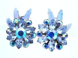 VTG BEAU JEWELS Silver Tone Blue AB Glass Rhinestone Clip Earrings - $39.60