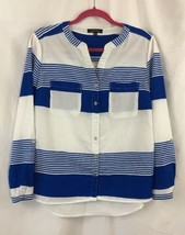 Womens Notations Blue And White Tabbed Sleeve Blouse Small - $9.74