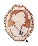 Art Deco Carnelian shell Habille cameo brooch in 14kt white gold filigre... - $375.00
