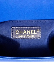 AUTHENTIC CHANEL ROYAL BLUE QUILTED VELVET MEDIUM BOY FLAP BAG SHW image 10