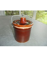 Small Brown Crock with Bale and Rubber Gasket - $11.88