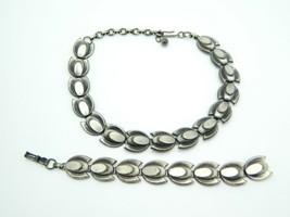 Mid Century Modern Tulip Flower Silver Tone Metal Necklace Bracelet Set ... - $24.74