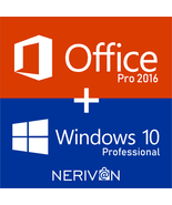 Windows 10 Professional And Microsoft Office 2016 Professional - Pro Com... - $49.89