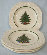 Cuthbertson Original Christmas Tree Dickens Style Bread Plate set of 4 - $80.08