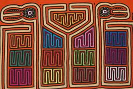 Kuna Indian Abstract Mola Applique Bird Intricate Maze Geometric Folk Ar... - $47.49