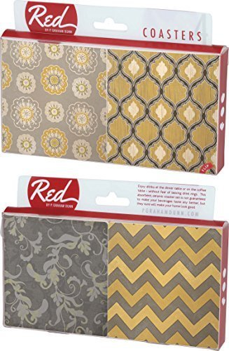 Gray And Yellow Floral Damask 4 Piece Absorbent Ceramic Coaster Set