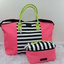 Victoria's Secret Getaway Bag Neon  Stripes With Matching Travel Lingering Case - $55.00