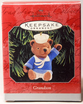Hallmark: Grandson - Waving Teddy Bear - 1998 Holiday Ornament - $8.36