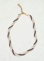 Pink Quartz and Hematite Gemstone Beaded Braided Choker Necklace - $14.84