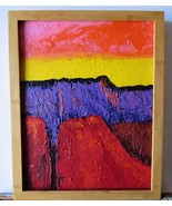 Sunset in the Canyon Original Acrylic canvas Board with Bamboo frame Signed - $47.00