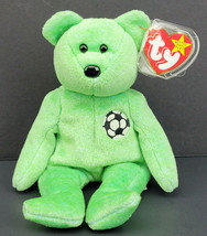 """TY Beanie Babies Collection 1999 Kicks the Soccer Bear Lime Green 9"""" - $12.99"""