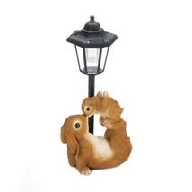 Playful Mom and Baby Rabbit Beside a Solar Lamp Post Garden Figurine  - $37.49