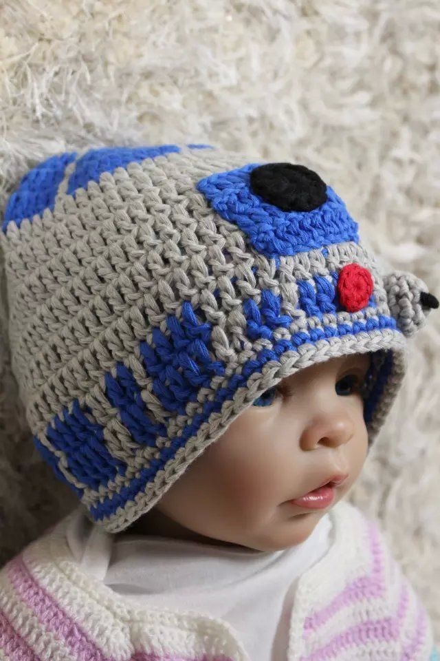 Knitting Pattern For R2d2 Hat : Handmade R2D2 Hat BB8 Hat Knit Crochet Hat Baby Hat Child Hat Star Wars Hat N...