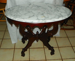 Mahogany Marble Top Center Table / Lamp Table by Victorian - $699.00