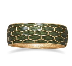 24.5mm Gold Tone Honeycomb Pearlescent Green Hinged Enamel Fashion Bangle - $11.95
