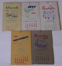 Chicago Cardboard Co. Antique 1950 Calendar Cards Mixed Lot Of 5 - $7.00