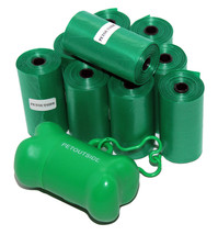1020 DOG PET WASTE POOP BAGS GREEN ROLLS with Core FREE DISPENSER Petout... - $18.69