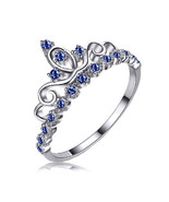 STERLING SILVER 925 Queen Crown Princess Tiara Sapphire Ring - $23.90