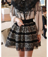 Romantic Gothic Princess Skirt. Black Mesh Silv... - $70.90