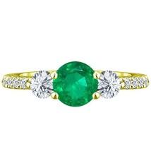 1.95 ct Round Natural Emerald Diamond 3 Stone Ladies Lucida Ring 14k Yel... - £515.12 GBP