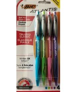BIC Atlantis 1.0 MM Medium Pens Assorted Fashion Colors 4-Pack New - $5.94