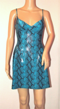 CACHE NWT Sexy Python Print Turquoise Shimming Cocktail Club Dress Size: S