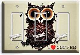 I Love Heart Coffee B EAN S Owl Triple Gfci Light Switch Plate Cover House Decor - $16.19