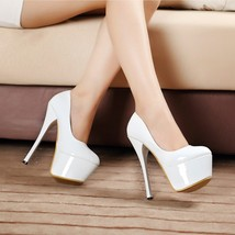 pp228 Sexy candy color supper high heels pump,US size 4-8, WHITE - $58.80