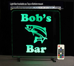 Personalized Bass Fish Man Cave Lighted Sign, Beer Mug, Fishing - $89.10+