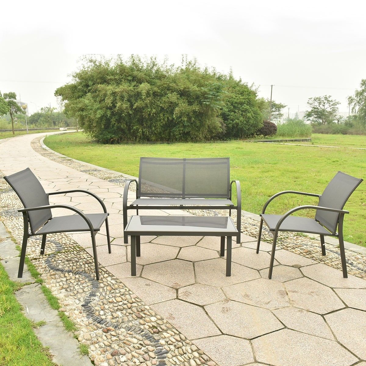 4 Pc Patio Furniture Outdoor Lawn Yard Sofa Chairs Coffee Table Garden Set Seat image 3