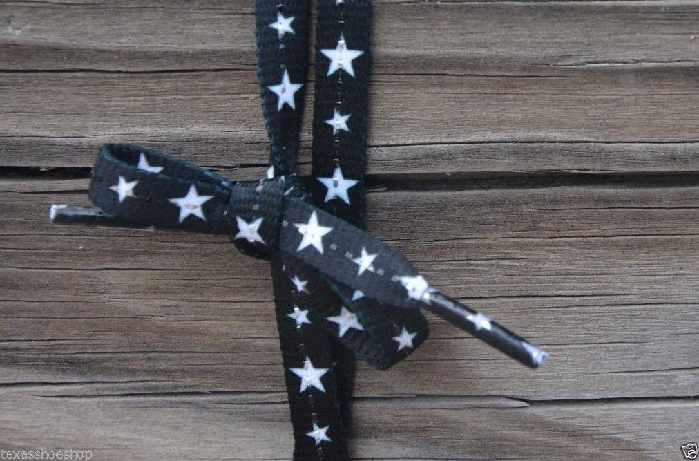 "Black Laces With White Stars 45"" Long Enough For 7 Pairs of Eyelets"