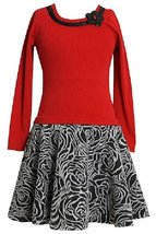 Big Girls Tween Plus Size Red Rib KnitTextured Floral Skirt Dress, Bonnie Jean