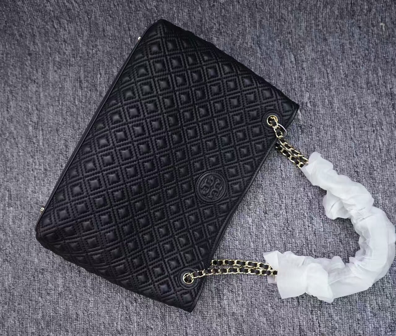 Tory Burch Black Marion Small Slouchy Tote