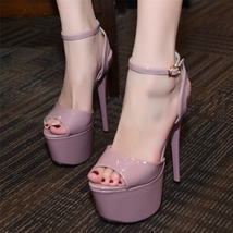 ps306 Sexy supper high heels sandals, 17 cm heels, US size 4-8, violet - $58.80