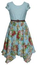 Big Girls Tween 7-16 Aqua-Blue Belted Lace to Floral Chiffon Hanky Hem Dress