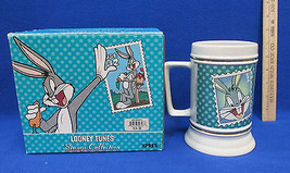 NOS Looney Tunes Bugs Bunny Stein Mug 1997 Stamp Collection Gold Banded  - $15.98