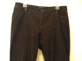 Ladies Talbots Curvy Dark Chocolate Brown Corduroy Pants Jeans Sz 14P image 3
