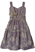Little Girls 2T-6X Purple Embroidered Fit Flare Social Dress, Isobella & Chloe