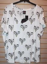New Torrid Womens Plus Size 5X 5 28W White Rebel W Gangsta Koala Tee Shirt Top - $24.18