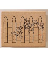 """Wooden Mounted Rubber Stamp Picket Fence with Ivy by Greenbrier Int. 3"""" ... - $4.05"""