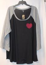 New Torrid Womens Plus Size 5X 5 Black & Gray W Red Heart Patch Raglan Shirt Top - $26.11